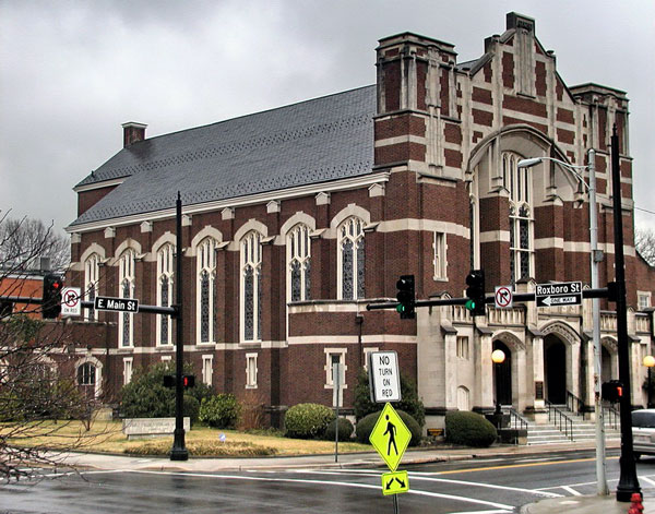 First Presbyterian Church at the corner of Roxboro and Main in Durham, NC
